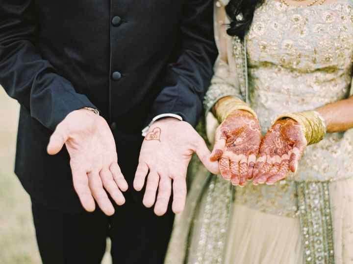 Young Muslim Couple making Du'a after their Nikah